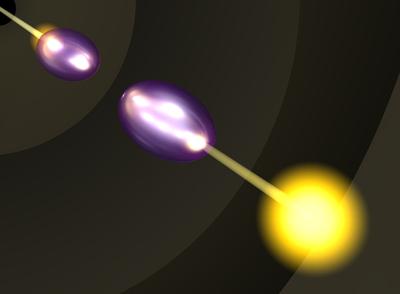 De lichtpuls gaat het ene BEC-wolkje in, om er vervolgens uit het andere tevoorschijn te komen. Dit kan alleen omdat de twee wolkjes identiek zijn. (S.R. Garner)